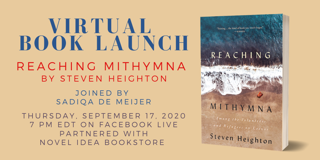Event poster with details including the book cover image for Reaching Mithymna by Steven Heighton.
