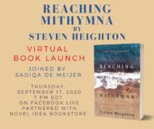 Virtual book launch poster with Reaching Mithymna book cover
