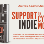 """Event poster with the book cover for AGAINST AMAZON AND OTHER ESSAYS on the left with the text """"Are you Against Amazon? Support Indie on Cyber Monday"""" on the right"""