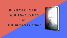The novel Foregone by Russell Banks on the right with the text 'Reviewed in the New York Times & The Boston Globe!' on the left with a pink and blue background.